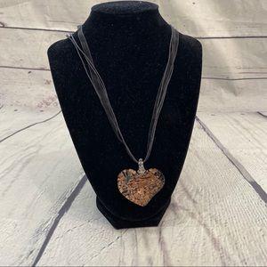 Jewelry - NIB handmade glass heart necklace